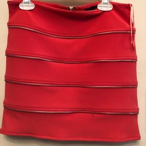 Coral bandage style skirt with zipper detailing